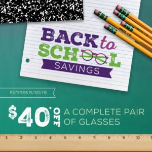 Back to School Eyeglasses Savings Promotion